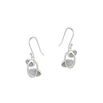 "Sterling Silver ""Orbit"" Dangle Earrings with White Mother of Pearl"