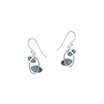 "Sterling Silver ""Orbit"" Dangle Earrings with Blue Mother of Pearl"