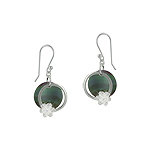 Sterling Silver and Black Mother of Pearl Circle with Flower Dangle Earrings with White CZ