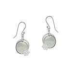 Sterling Silver and White Mother of Pearl Circle with Flower Dangle Earrings with White CZ