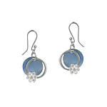 Sterling Silver and Blue Mother of Pearl Circle with Flower Dangle Earrings with White CZ