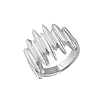 "Sterling Silver High Polish and Matte Finish ""Comb"" Ring"
