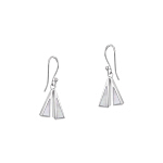 Sterling Silver Two Triangles Dangle Earrings With White Mother Of Pearl