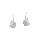 Sterling Silver and White Mother of Pearl Filigree Flower Dangle Earrings with White CZ