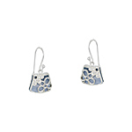 Sterling Silver and Blue Mother of Pearl Filigree Flower Dangle Earrings with White CZ