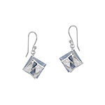 Sterling Silver and Blue Mother of Pearl Diamond-Shaped Dangle Earrings with White CZ