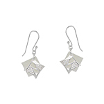 Sterling Silver and White Mother of Pearl Diamond-Shaped Dangle Earrings with White CZ