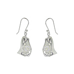 Sterling Silver and White Mother of Pearl Filigree Wave Dangle Earrings with White CZ