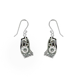 Sterling Silver and Black Mother of Pearl Filigree Wave Dangle Earrings with White CZ