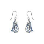 Sterling Silver and Blue Mother of Pearl Filigree Wave Dangle Earrings with White CZ
