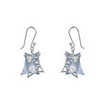 Sterling Silver and Blue Mother of Pearl Filigree Hearts Dangle Earrings with White CZ