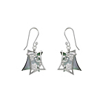 Sterling Silver and Black Mother of Pearl Filigree Hearts Dangle Earrings with White CZ