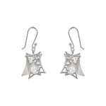 Sterling Silver and White Mother of Pearl Filigree Hearts Dangle Earrings with White CZ