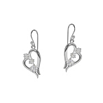 Sterling Silver Heart Dangle Earrings with White CZ