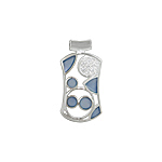 Sterling Silver Geometric Pendant with Blue Mother of Pearl and White CZ