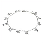 Sterling Silver Petal Charms Anklet