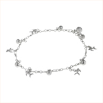 Sterling Silver Balls and Fish Charms Anklet