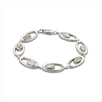 Sterling Silver Oval in Oval Bracelet with White Mother of Pearl
