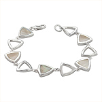 Sterling Silver Triangular Links Bracelet with White Mother of Pearl