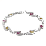 "Sterling Silver ""69"" Links Bracelet with Pink and Yellow Mother of Pearl"