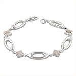 Sterling Silver Oval and Square Links Bracelet with White Mother of Pearl
