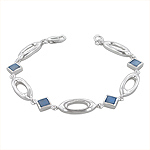 Sterling Silver Oval and Square Links Bracelet with Blue Mother of Pearl