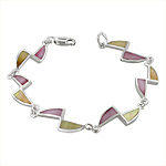 Sterling Silver Triangles Bracelet with Pink-Yellow Mother of Pearl