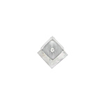 Sterling Silver and White Mother of Pearl Matte Finish Square Pendant with White CZ