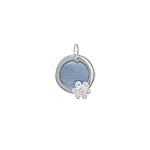 Sterling Silver and Blue Mother of Pearl Circle with Flower Pendant with White CZ