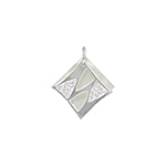 Sterling Silver and White Mother of Pearl Diamond Shaped Pendant with White CZ