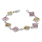 Sterling Silver Square Links Bracelet with Pink and Yellow Mother of Pearl