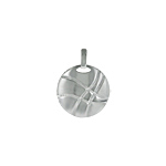 Sterling Silver High Polish and Matte Finish Lined Circle Pendant