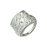 "Sterling Silver Matte and High Polish Finish ""Willow Leaves"" Ring with White CZ"