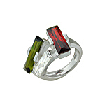 Sterling Silver Three Rectangles Ring with Multicolor CZ