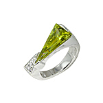 Sterling Silver Two Triangles Ring with Green and White CZ