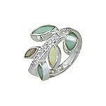 Sterling Silver Branch with Leaves Ring with Green, Yellow, and White Mother of Pearl and White CZ