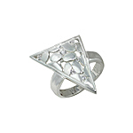 Sterling Silver Ovals in Triangle Ring with White CZ