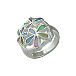 Sterling Silver Three Flowers in Circle Ring with Multicolor Mother of Pearl