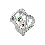 Sterling Silver Curved Triangle Ring with Multicolor CZ