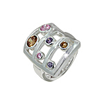Sterling Silver Curved Rectangle Ring with Multicolor CZ