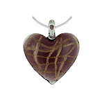 Purple Murano Glass Heart Pendant with Gold Pattern on Sterling Silver 1.5mm Omega Chain