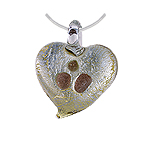 Silver Murano Glass Heart Pendant with Gold Dots on Sterling Silver 1.5mm Omega Chain
