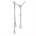 Sterling Silver Necklace with White Swarovski Pearls and White Round and Square Cubic Zirconia on 1.