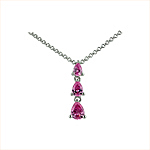 Sterling Silver Three Teardrops Necklace with Pink Cubic Zirconia on 1.5mm Rollo Chain