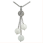 Sterling Silver and White Mother of Pearl Circles Necklace with White Cubic Zirconia on 2mm Cable Ch