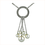Sterling Silver Ring Necklace with Five White Pearls on 3mm Rollo Chain