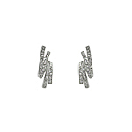 Sterling Silver Rolled Double Sticks Pave CZ Stud Earrings