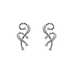 Sterling Silver Interlocking Question Marks Stud Earrings with White CZ
