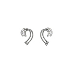Sterling Silver Double Hooks Stud Earrings with White CZ