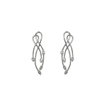 Sterling Silver Buds on Twisted Stems Stud Earrings with White CZ